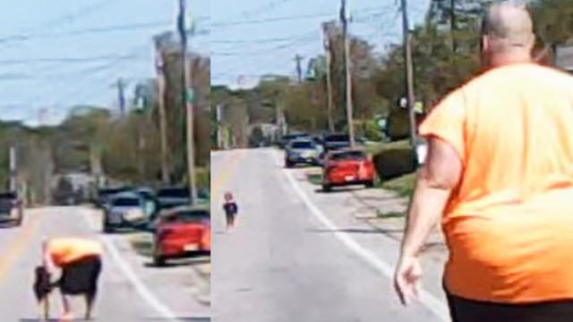 Baby found in the middle of the road Without a parent close by