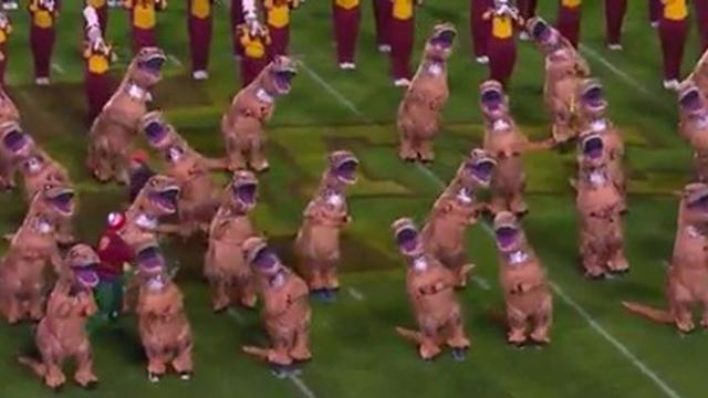 Iowa State Marching Band Dance To Jurassic Park Music In Inflatable
