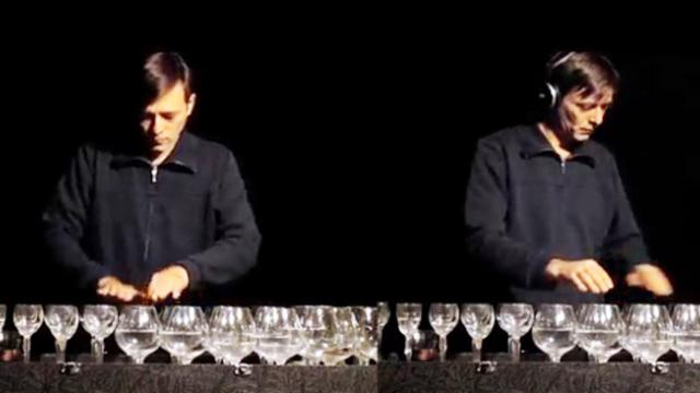Man Pours Water Glasses  Takes The Stage Seconds Later Incredible Symphony Fills The Air