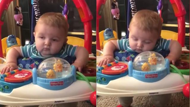 When You Need Sleep, but Jumping Is Life – Baby Struggles to Stay Awake on His Bouncer