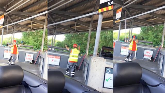 Refuse worker dances to disco song playing out of visitors car window