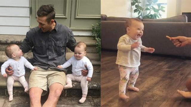 Baby Girl Takes First Steps When Dad Lures Her With Tasty French Fries.