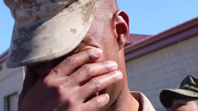 Marine Just Got Back From Deployment, But When He Turns Around Hes In Tears