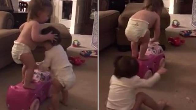 Toddler Girls Wrestle Over Toy Car