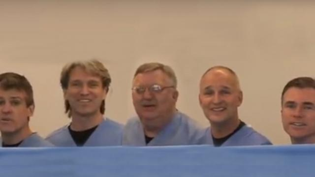Five Doctors Line Up Behind Sheet As They Drop It Internet Cant