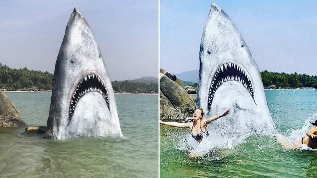 Graffiti Artist Turns Huge Beach Rock Into A Great White Shark And People Are Loving It