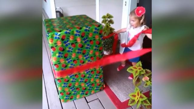 Girl Gets Giant Box For 3rd Birthday, Has No Idea Deployed Dad Is Hiding Inside.