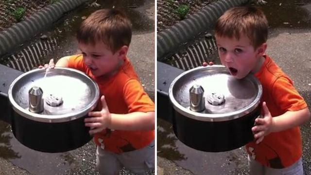Adorable Tot Fails At Using Water Fountain
